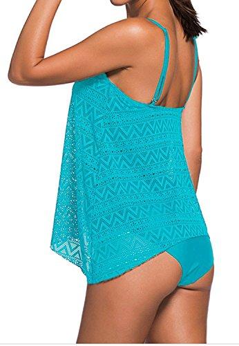 con rete Skyblue Tankini da in donna vita da Socluer costume bagno bikini alta slip a ZpwwzqF