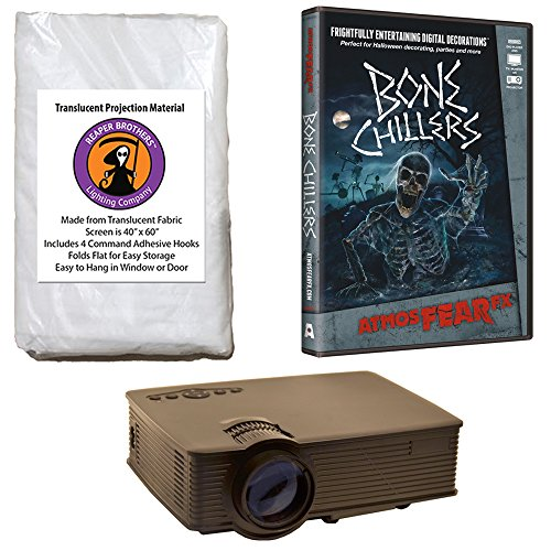 Kringle Bros AtmosFearFx Bone Chillers Halloween DVD Projector Kit with 1900 Lumen LED Video Projector, Reaper Brothers High Resolution Window Rear Projection Screen and AtmosFearFX Bone Chillers DVD