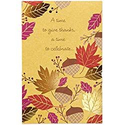 American Greetings Acorns and Leaves Thanksgiving Card with Foil, 6-Count (6143609)