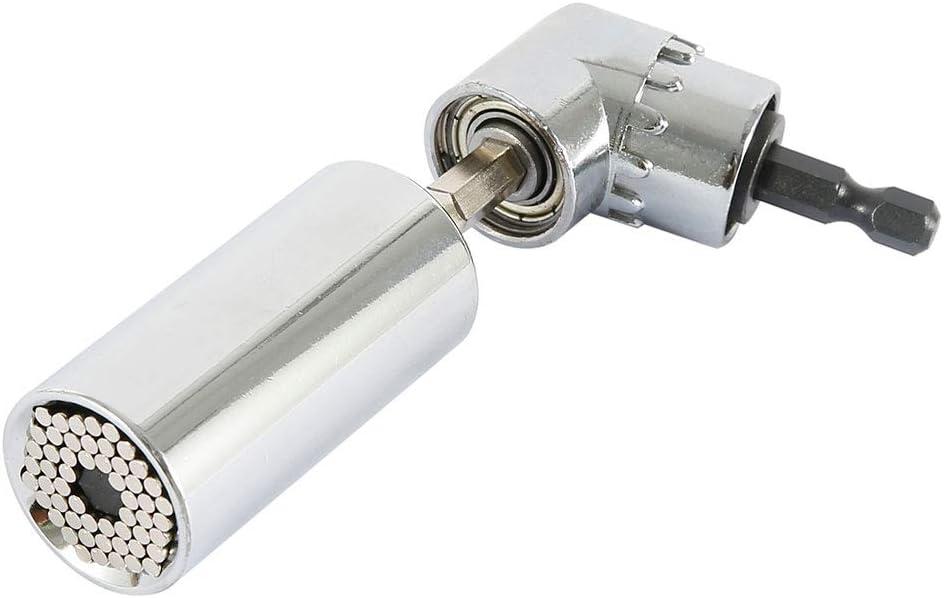 BOTTLEWISE Lot de 3 cl/és universelles /à douille 7 /à 19 mm Petit multifonction avec adaptateur 105 /° Extension dangle de 1//4 de pouce Foret /à angle droit