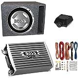 BOSS Audio 1400W Subwoofer + Boss 1500W Amplifier + Remote & Wiring Kit + Q-Power Enclosure