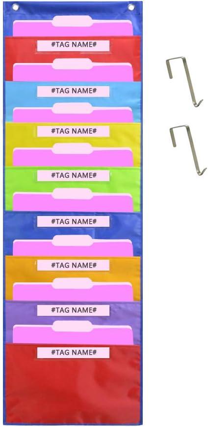 Colored hanging file pocket.