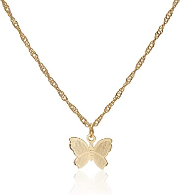Butterfly Shape Charms Pendant Metal Chain Necklaces Gift For Women Gold Jewelry