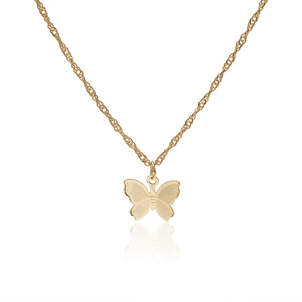 Konpicca Butterfly Necklace Y Pendant Simple Cute Necklaces Long Multilayer Chain Fashion Jewelry Women Girls Gift for Her