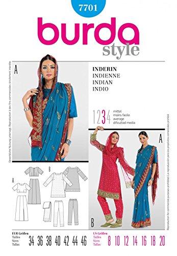 Burda Ladies Sewing Pattern 7701 Indian Style Sari Outfit (Indian Pattern)