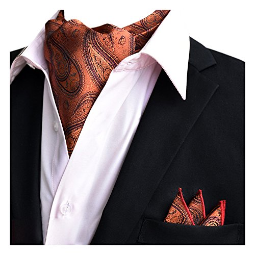 Elegant Ascot Wedding Xlj Tie Floral Silk YCHENG 20 Men's Set Handkerchief Paisley Brown Business dBZq1x1w