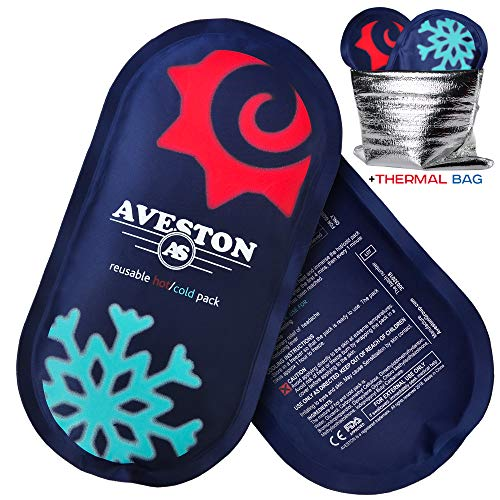 AVESTON Ice Gel Cold Pack for Injuries – Reusable Flexible 2 Ice Packs Set for Knee Ankle Back Shoulder Neck Hot Cold Therapy Compress for Women Men + Free Thermal Bag by AVESTON