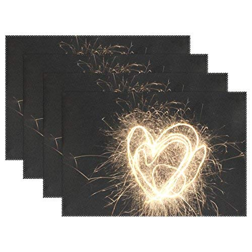 Night Fireworks Ftival Event Celebration Placemats Heat Insulation Stain Ristant for Dining Table Non-Slip Kitchen Table Place Mats Set of 4 ()