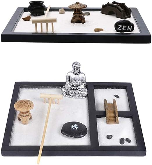 B Blesiya 2 Piezas Buda Sandbox Meditación Arena Caja Jardín ...