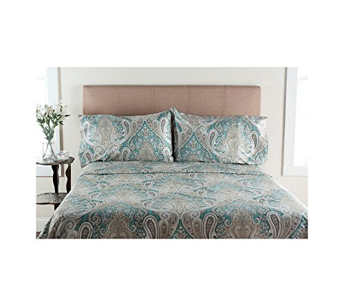 - Elite Home Products, Inc. Crystal Palace Paisley Deep Pocket Cotton Sheet Set Aqua 4 Piece California King