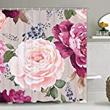 Pink and Purple Shower Curtain Smurfs Yingda Pink and Purple Rose Shower Curtain with 12 Hooks Flowers and Green Leaves Shower Curtain for Bathroom, Polyester Waterproof Fabric Shower Curtain