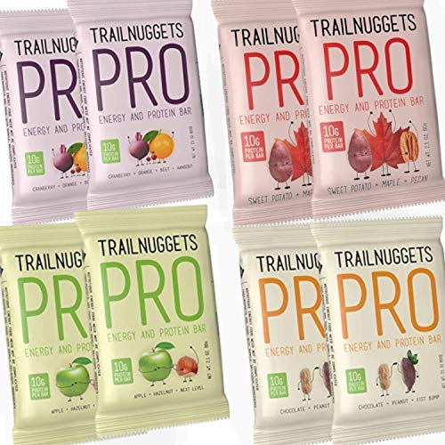 Trailnuggets Natural Energy Pro Bars, Gluten Free, Sample Pack, (8 Count)