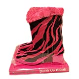 Dress Up Boots Pink & Black Faux Fur