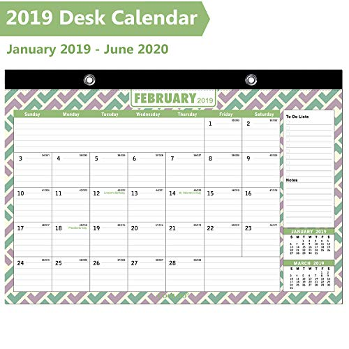 Desk Calendar 2019, Large Monthly Wall Calendar with Plastic Cover: 16