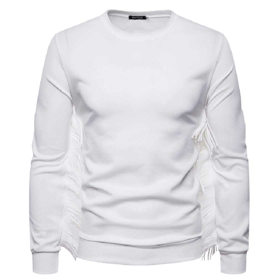 YUNY Mens Tassel Round Neck Stylish Fitted Solid Pullover Sweatshirt White M