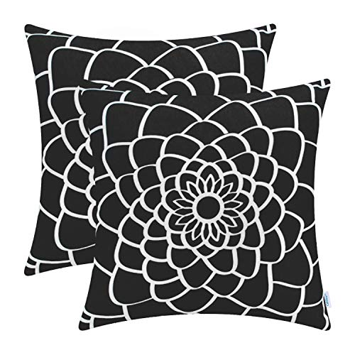 CaliTime Pack of 2 Soft Canvas Throw Pillow Covers Cases for Couch Sofa Home Decor Dahlia Floral Outline Both Sides Print 16 X 16 Inches Black