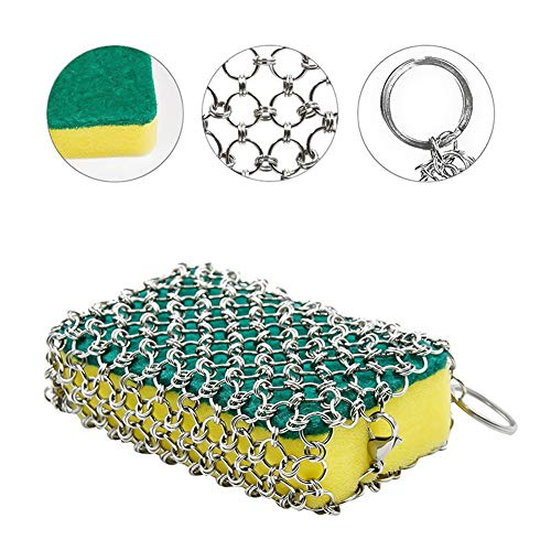 Cast Iron Cleaner, ROBAO Stainless Steel Chainmail Scrubber for Cast Iron Pan Skillet with 3pcs Sponges