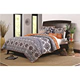 D&H 3 Girls Orange Purple Medallion Stripes Theme Quilt King Set, All Over Rich Geometric Flower Medallion Pattern, Elegant Horizontal Stripe-Inspired Bohemian Mandala Motif Print, Vibrant Colors