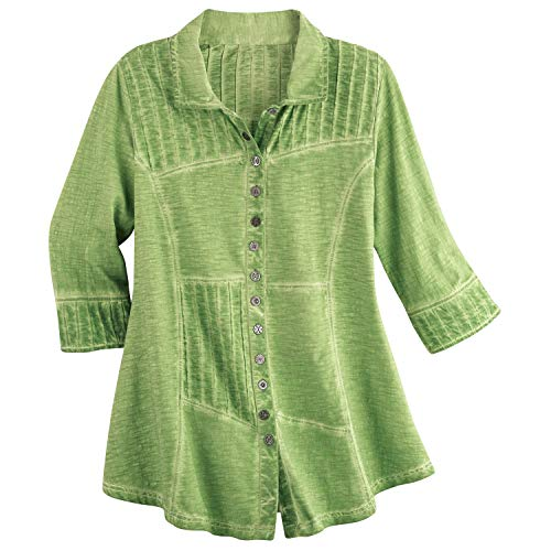 Parsley & Sage Women's Pin Tuck Tunic Top - Button Front 3/4 Sleeve Pieced Shirt - Celery - 2X Green (And Sage Parsley Tops)