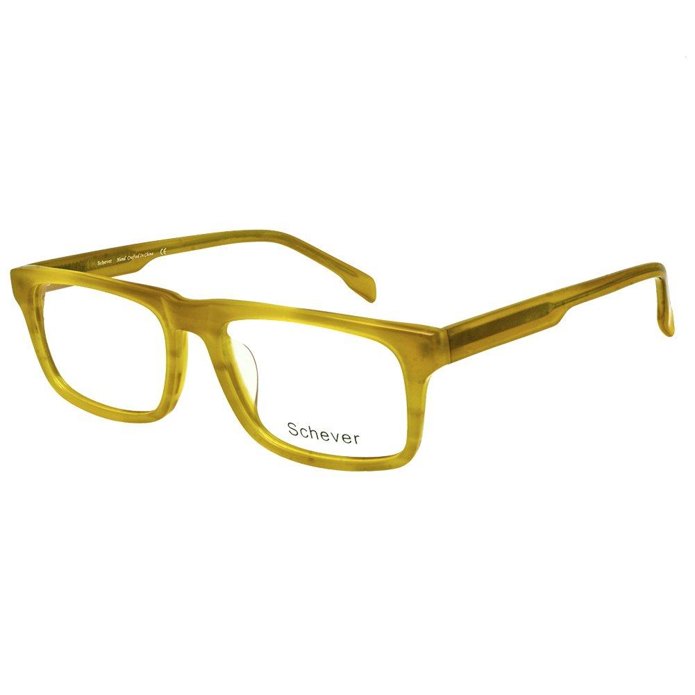 Schever Unisex Hand Made Rectangle Non-prescription Glasses Frame Clear SV3203(Brown, 51)