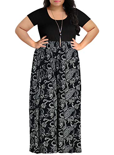 (Nemidor Women's Chevron Print Summer Short Sleeve Plus Size Casual Maxi Dress (26W, Black Cashew))