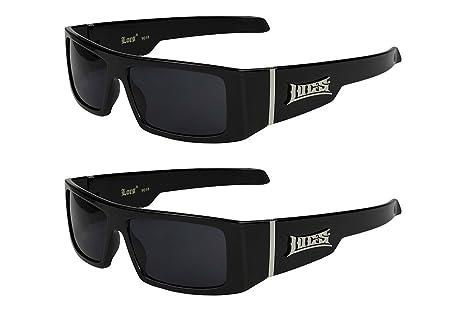 2er Pack Locs 9058 X 03 Sonnenbrillen Unisex Herren Damen Männer Frauen Brille - 1x Modell 02 (schwarz matt/schwarz getönt) und 1x Modell 03 (weiß glänzend/schwarz getönt) VgHOb