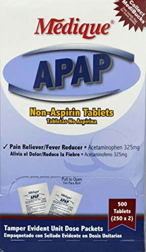 325 Mg 250 Tablets - 1006871 PT# 145-13 APAP Acetaminophen Tablet 325mg 2s in Industrial Pack 250x2/Bx Made by Medique Pharmaceuticals