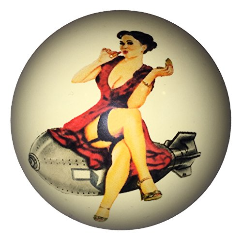 Red Dress Pin-Up Girl on Bomb Cue Ball for Pool Players Custom by D&L Billiards