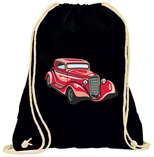 Turnbeutel hot Rod Sportwagen Oldtimer Young Timer Shellby Cobra GT Muscel Car America Motiv 9773 mit Kordel - 100% Baumwolle- Gymbag- Rucksack- Sportbeutel Schwarz