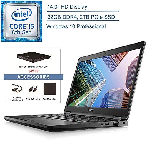 2020 Dell Latitude 5490 14″ Business Laptop Computer, 8th Gen Intel Quad-Core i5 8350U up to 3.6GHz, 32GB DDR4, 2TB PCIe SSD, AC WiFi, Windows 10 Pro + YZAKKA External DVD + Accessories
