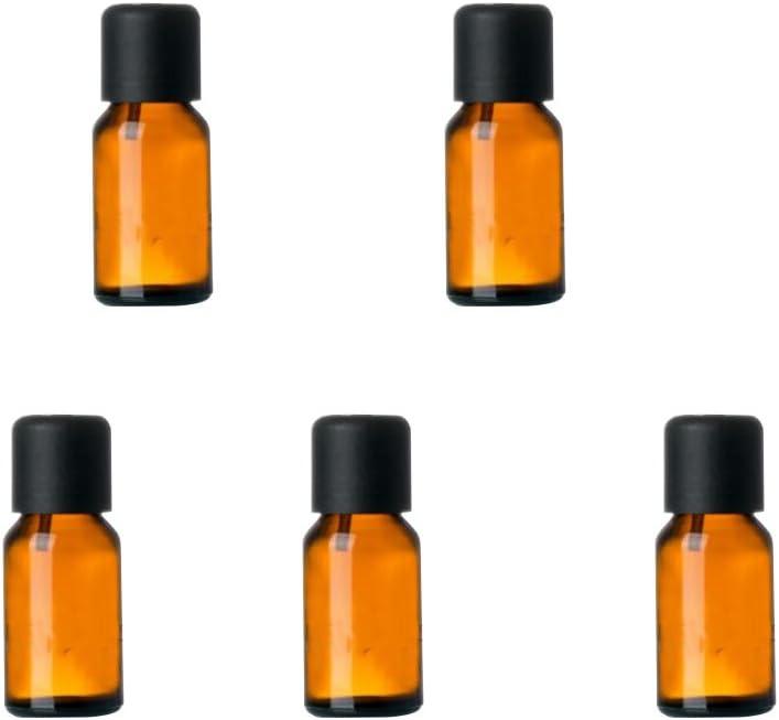 15 ml de vidrio retornables que capsula de la botella de aceite esencial de contenedores (5 PCS): Amazon.es: Belleza