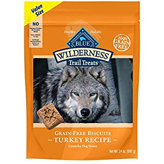 Blue Buffalo Wilderness Trail Treats High Protein Grain Free Crunchy Dog Treats Biscuits, Turkey Recipe 24-oz Bag
