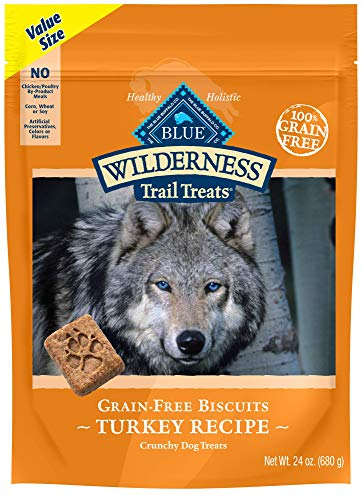 Blue Buffalo Wilderness Trail Treats Grain Free Crunchy Dog Treats Biscuits, Turkey Recipe 24-oz - Natural Dog Biscuits