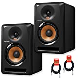 Pioneer DJ Bulit8 Active Reference 8-Inch Monitors - Black - Pair w/ 20ft XLR Cables - Bundle