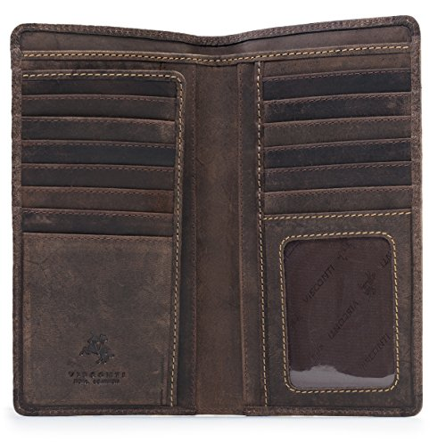 Bi Distressed Fold Leather (Visconti 724 Hunter Distressed Brown Leather Tall Bi-fold Wallet for Home, Business, or Travel 7