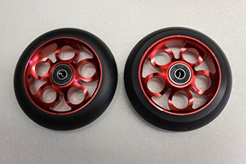 2017 Scooter 110MM Aluminum Core Wheelset W/ Abec 9 Bearings, Red & Black
