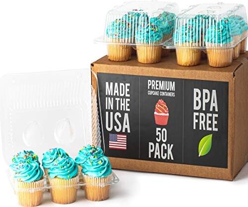 Mini Cupcake Box (Royalux Cupcake Containers Plastic Disposable (50-Pack) - BPA Free Cupcake Boxes 6 Cavity - USA Made Cupcake Holder Carrier - High Dome Cupcake Container - Cupcake Holders Disposable Cupcake)