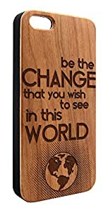 Genuine Maple Wood Organic World Mahatma Gandhi Quote Snap-On Cover Hard Case for iPhone 5C
