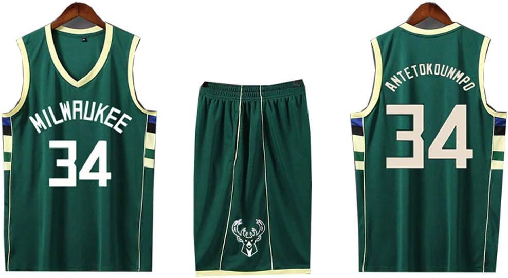 HANGESS Chico Chico Hombre Camiseta de Baloncesto Milwaukee No.34 Antetokounmpo Basketball Swingman Jersey Entrenamiento Correr Gimnasio Shorts Set Verde: Amazon.es: Deportes y aire libre