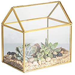"NCYP 4.33 Inches Geometric Glass Decor Terrarium Centerpiece Tabletop Planter Handmade Copper House Shape Flower Pot for Plants Succulents (6.1"" X 6.3"" X 4.33"" )"