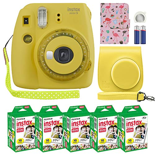 Fujifilm Instax Mini 9 Instant Camera Clear Yellow with Clear Accents with Custom Case + Fuji Instax Film Value Pack (50 Sheets) Designer Photo Album for Fuji instax Mini 9 Photos
