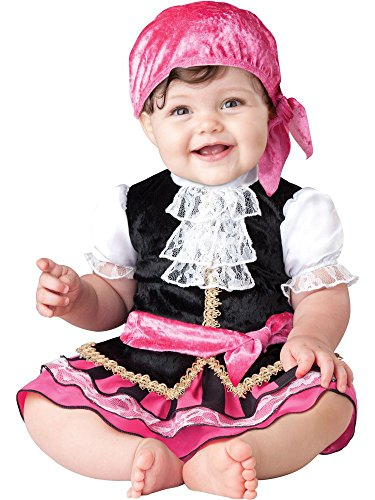 InCharacter Baby Girl's Pretty Little Pirate Costume, Pink/Black, Medium (Little Girls Pirate Costume)