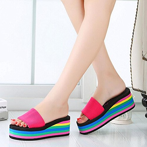 Summer Euone Beach Rainbow Female Slip Pink Slippers Women Sandals Non Hot frnwOAfEq