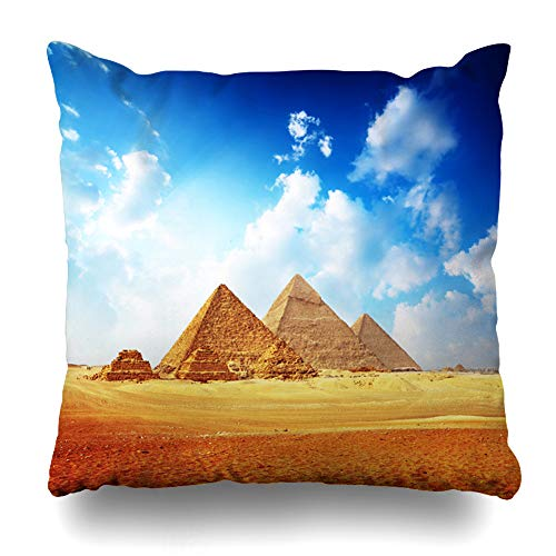 Ahawoso Throw Pillow Cover Cairo Yellow Egypt Giza Valley Great Pyramids Antique Blue Cloudy Egyptian Cheops Tourism Design Home Decor Pillow Case Square Size 20x20 Inches Zippered Pillowcase