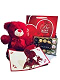 Valentines day Premium Gift Basket Ferrero rocher 15 count | 12 Inch Teddy Bear Plush | Premium Gift Bag | 3D Cupids Valentine Card | Sweetheart Love for Mother Daughter and Friend | Gift Basket