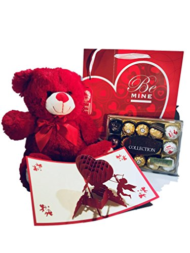 Valentines-day-Premium-Gift-Basket-Ferrero-rocher-15-count-12-Inch-Teddy-Bear-Plush-Premium-Gift-Bag-3D-Cupids-Valentine-Card-Sweetheart-Love-for-Mother-Daughter-and-Friend-Gift-Basket