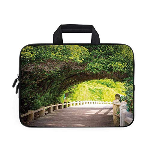 Forest Laptop Carrying Bag Sleeve,Neoprene Sleeve Case/VAMIX Boardwalk Through Green Archway Bridge Foliage Trees Sunny Summer Day/for Apple MacBook Air Samsung Google AcersBeige G