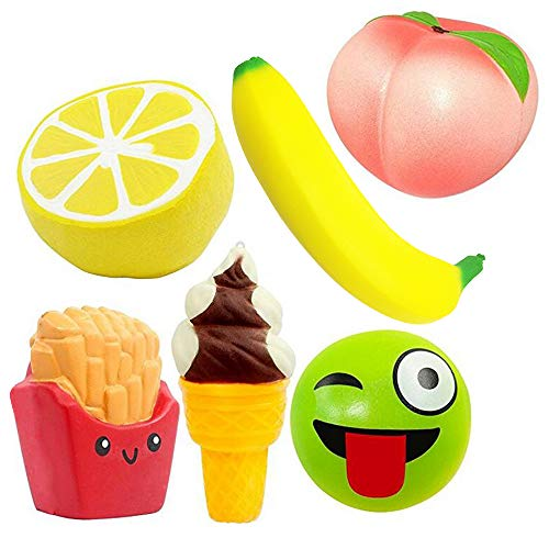 Bread Banana French (4Ds Scented Stress Relief 6pcs Jumbo Squishies Slow Rising Strawberry Emoji Banana French Fries Ice Cream Pineapple Fruit Kawaii Toys for Kids and Adults Simulation Lovely Medium Mini Soft Food)
