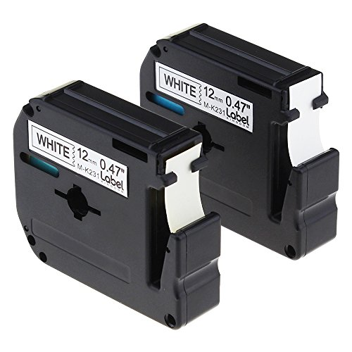 Label KINGDOM 2 Pack Compatible Brother P-touch M231 MK231 M-k231 Label Tape 12mm (1/2 Inch) Width X 8m (26.2ft) Length, Black on White M Series Tapes Use for PT-65 PT-90 Label Printer