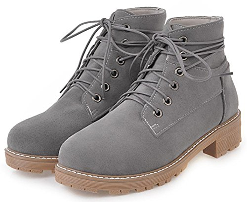 Toe Low Gray Booties Short Suede Lace up Block Boots Round Faux Heel Ankle Women's Retro Mofri qw8AZnx1B